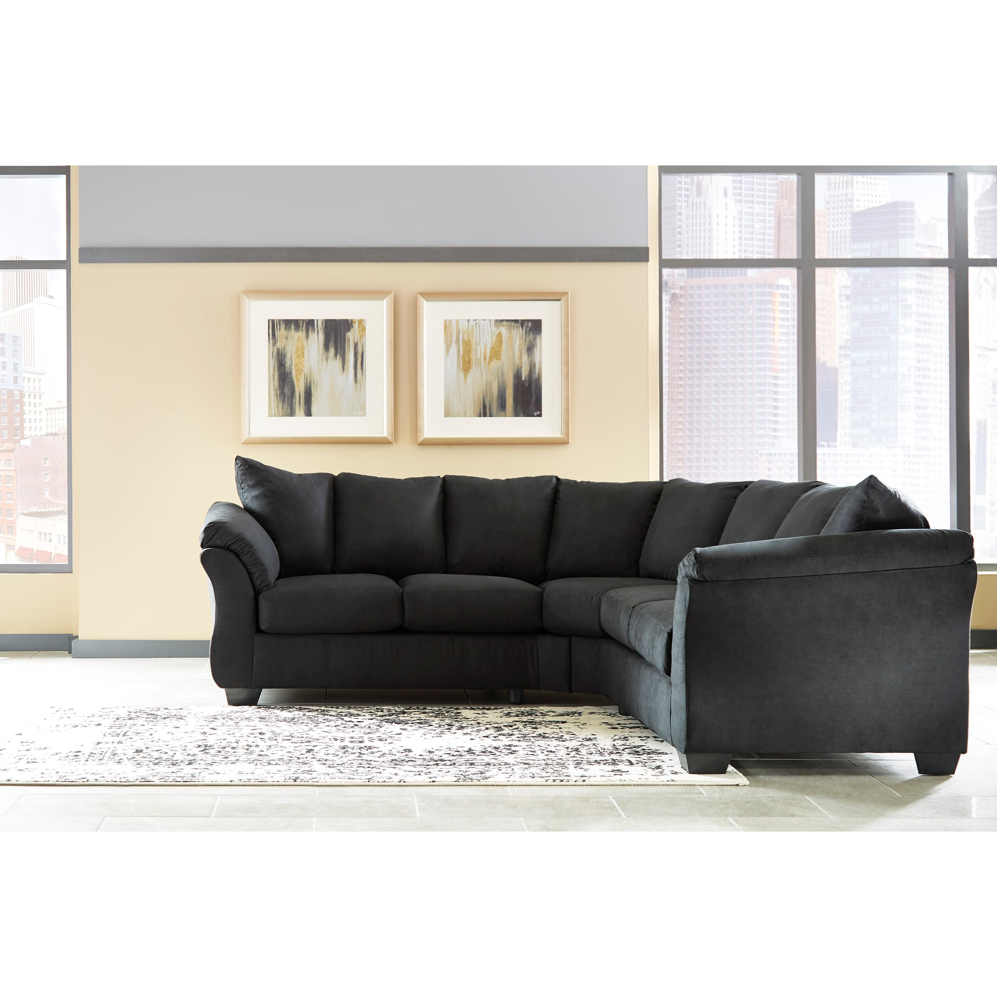 Signature Design By Ashley Darcy Black Contemporary Sectional Sofa With Sweeping Pillow Arms