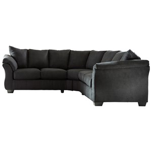 Signature Design by Ashley Darcy - Black Sectional Sofa
