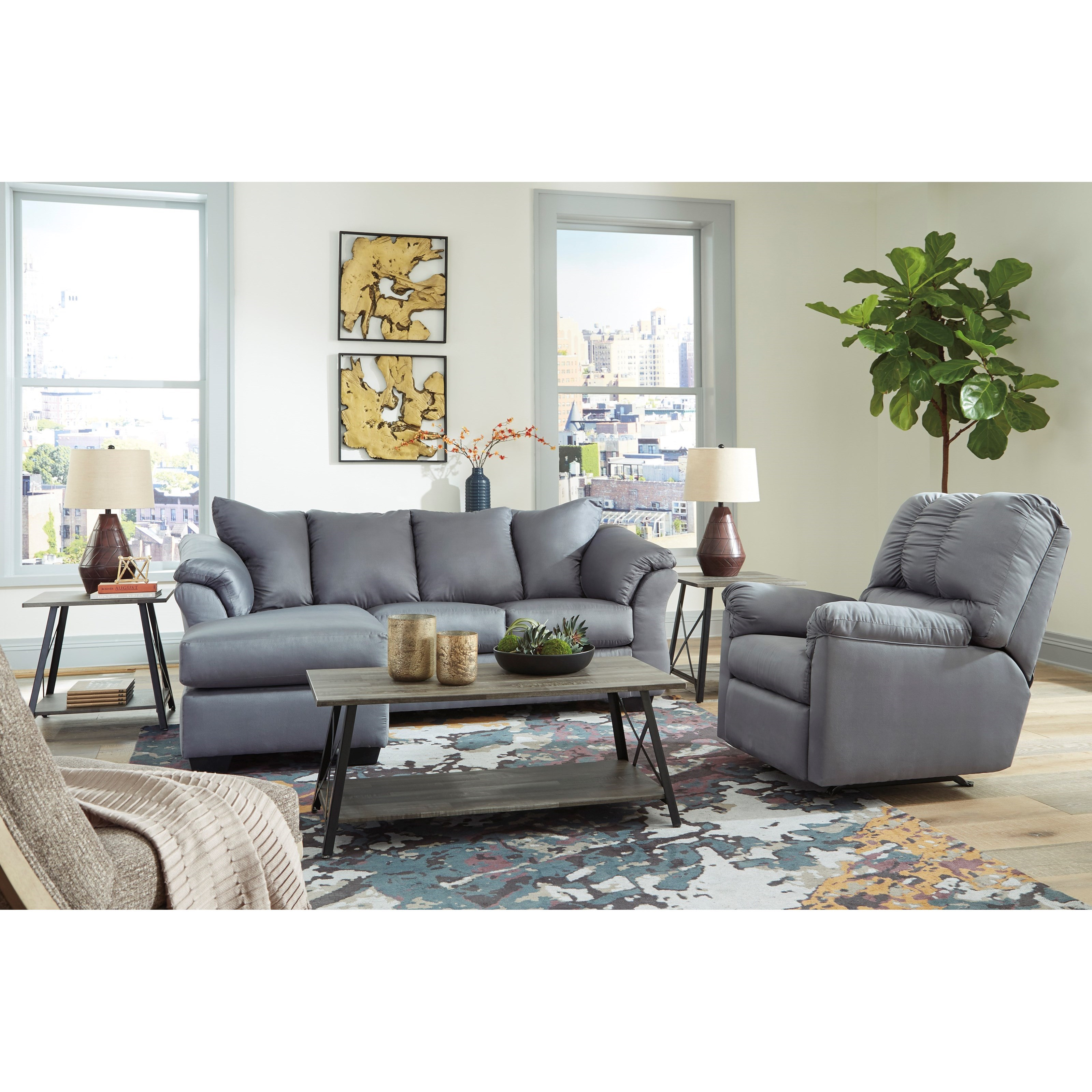 Signature Design By Ashley Darcy Steel Contemporary Sofa Chaise With Flared Back