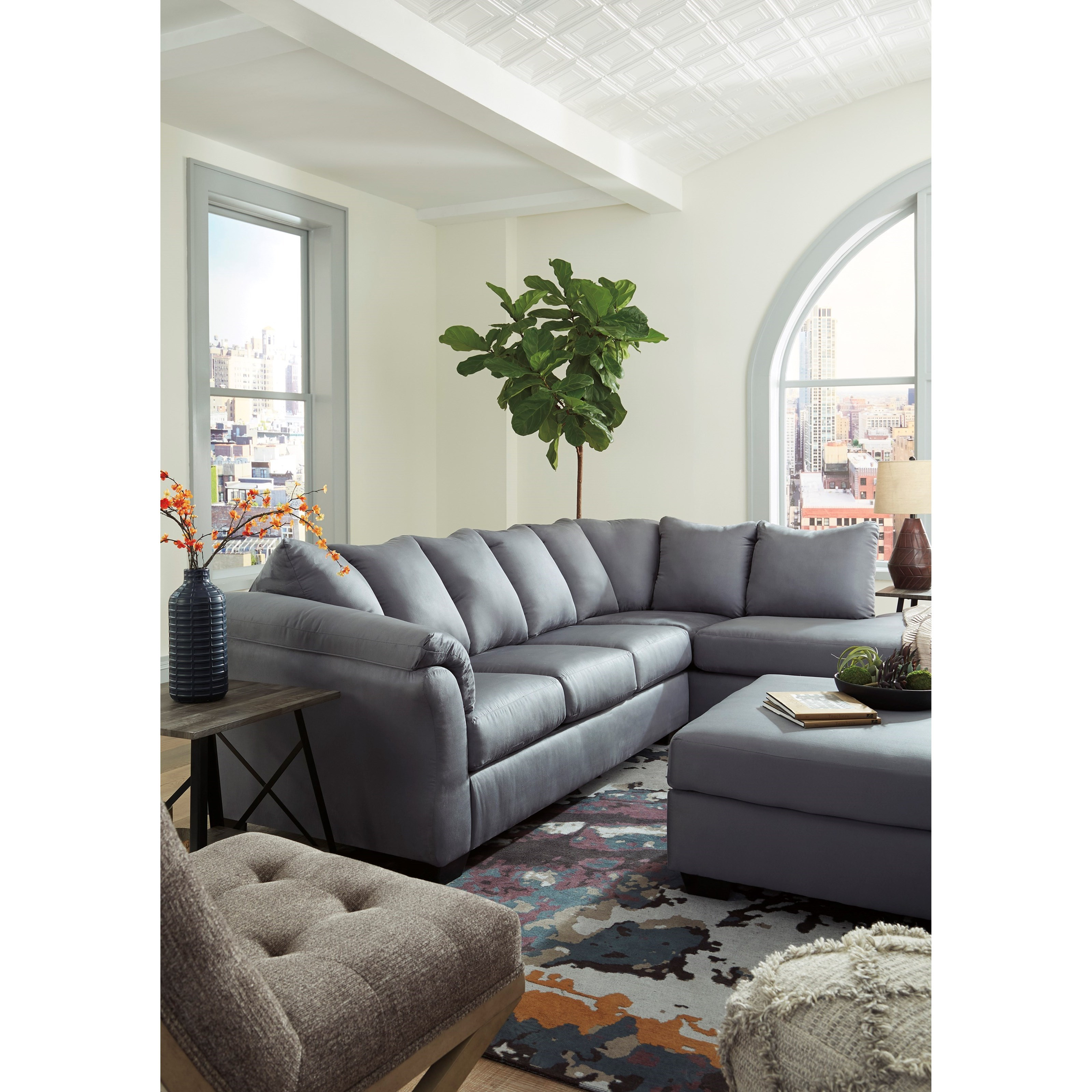 Signature Design By Ashley Darcy Steel Contemporary Sectional Sofa With Chaise