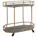 Signature Design by Ashley Daymont Metal Bar Cart with Mirror Shelves