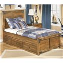 Signature Design by Ashley Delburne Twin Platform Pedestal Bed with Storage - Item Number: B362-63+50+70
