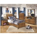Signature Design by Ashley Delburne Twin Panel Bed in Rustic Pine