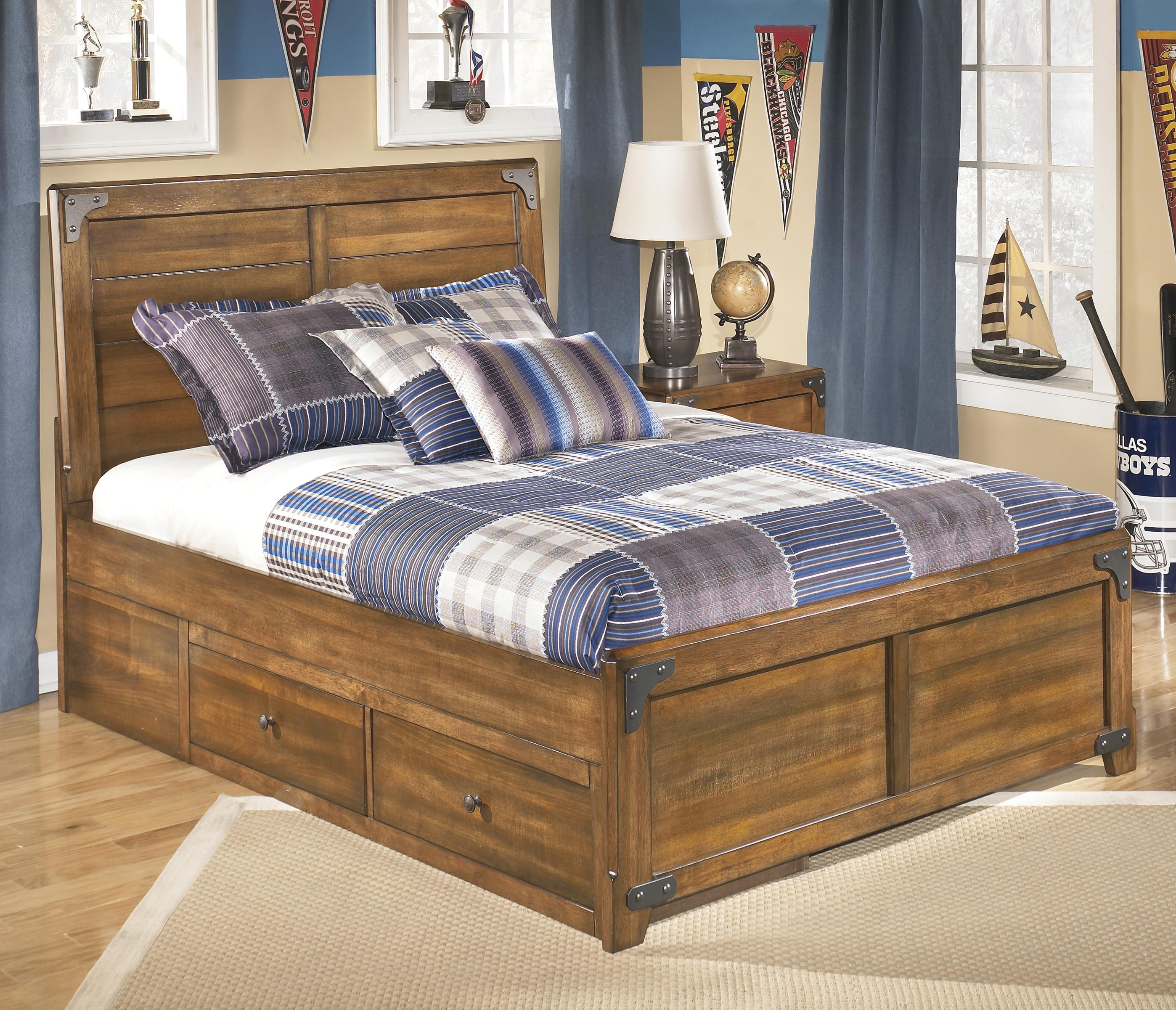Signature Design by Ashley Cole Full Platform Pedestal Bed with Storage - Item Number: B362-87+50+71