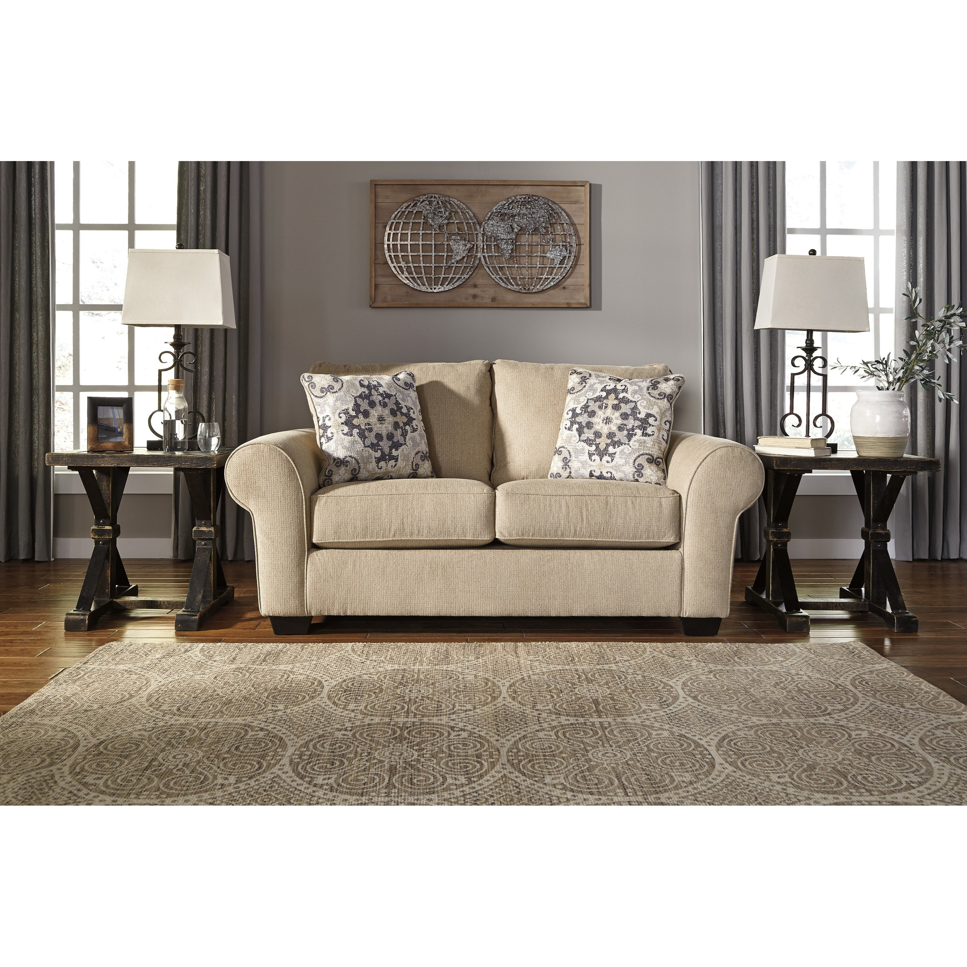Signature Design By Ashley Denitasse Casual Loveseat With Rolled Arms Prime Brothers Furniture