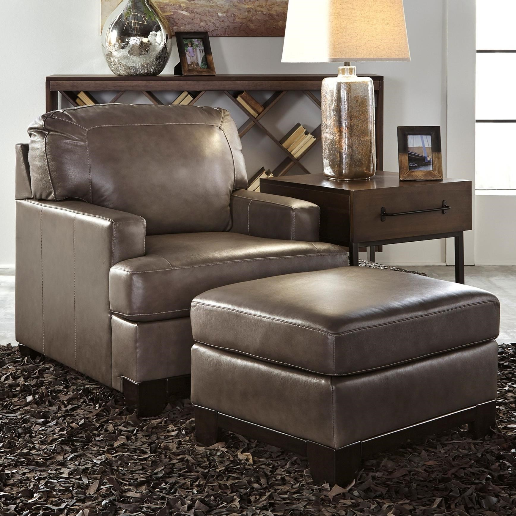 Signature Design By Ashley Derwood Contemporary Leather Match Upholstered Chair Ottoman