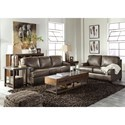 Signature Design by Ashley Derwood Contemporary Leather Match Loveseat