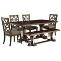 Signature Design by Ashley Devasheen 6 Piece Rectangular Table Set - Item Number: D687-25+4x01+00