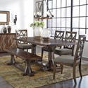 Signature Design by Ashley Devasheen 6 Piece Industrial Rectangular Table Set with Bench