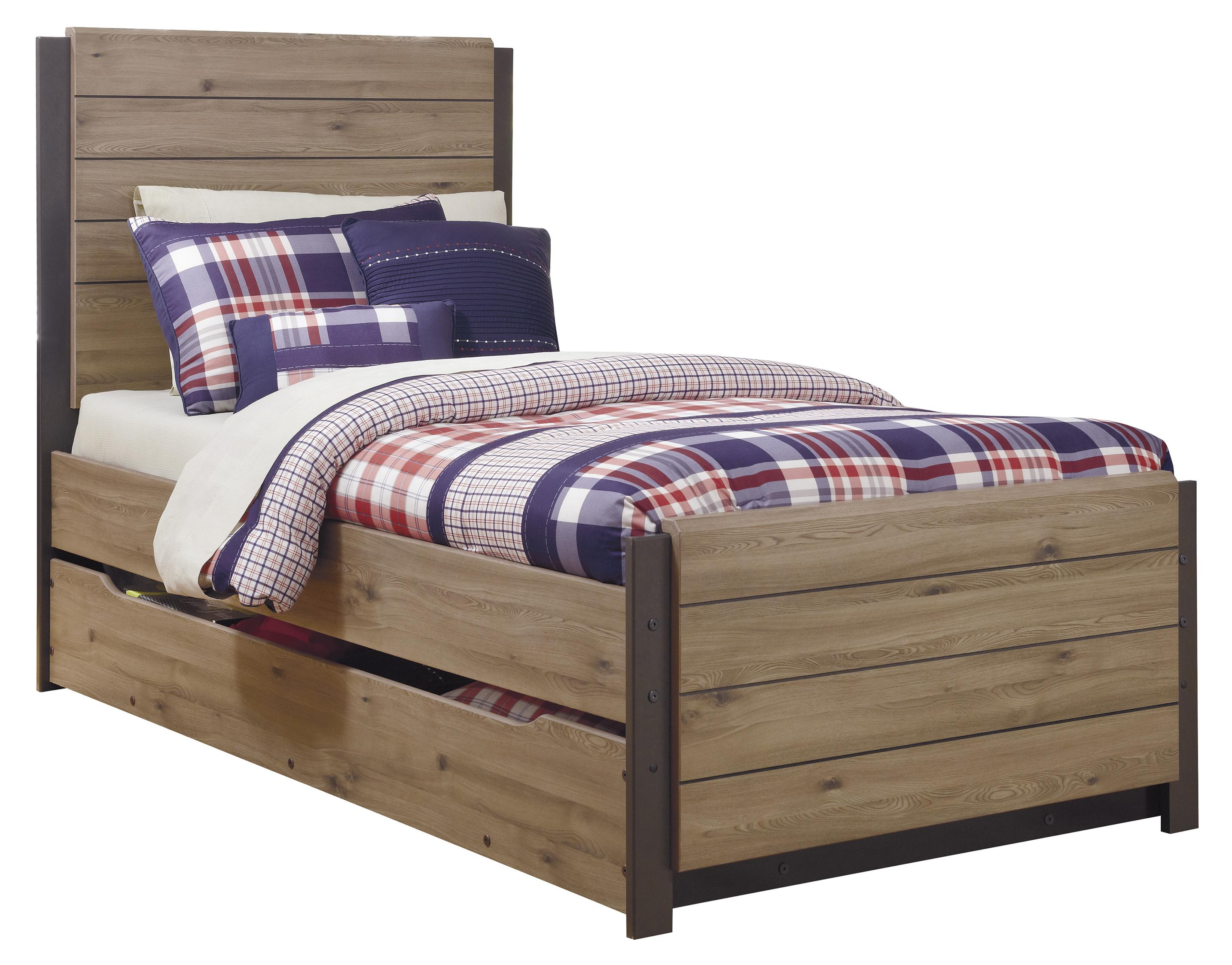 Signature Design by Ashley Dexifield Twin Panel Bed w/ Trundle Under Bed Storage - Item Number: B298-53+52+83+60+B100-11