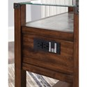 Signature Design by Ashley Diamenton Dark Brown Chair Side End Table with Glass Top and Faux Concrete Shelf