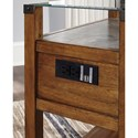 Signature Design by Ashley Diamenton Medium Brown Chair Side End Table with Glass Top and Faux Concrete Shelf