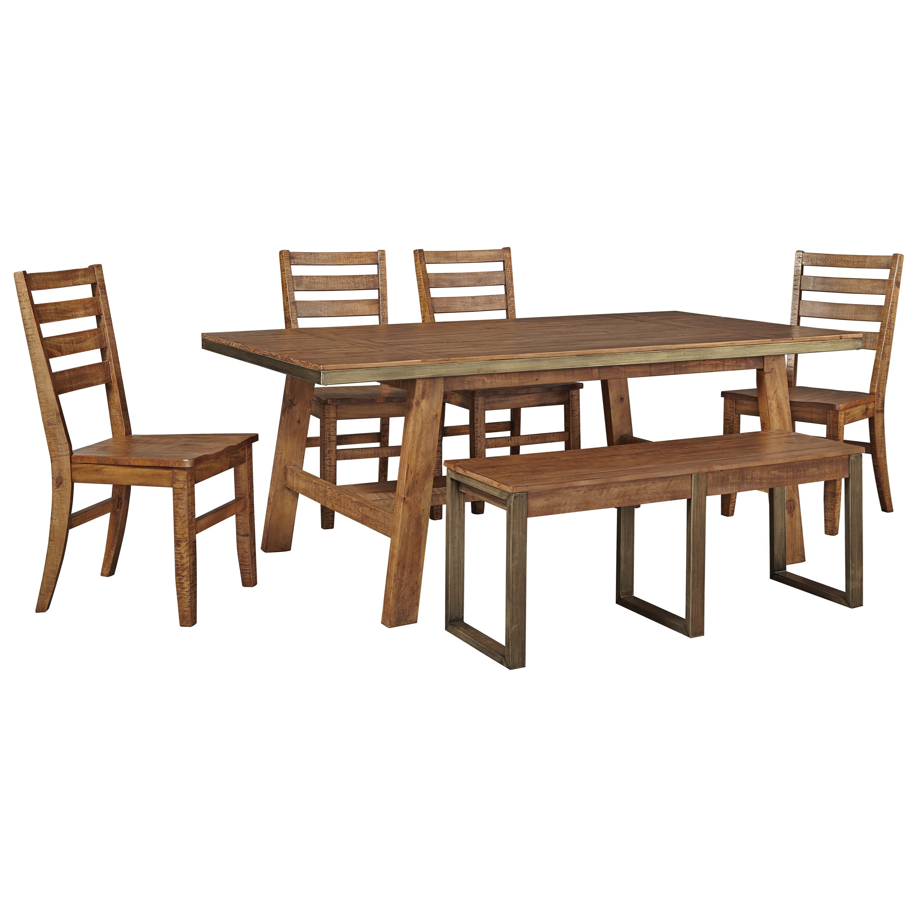 Signature Design by Ashley Dondie 6-Piece Solid Wood Table Set w/ Bench - Item Number: D663-25+4x01+00