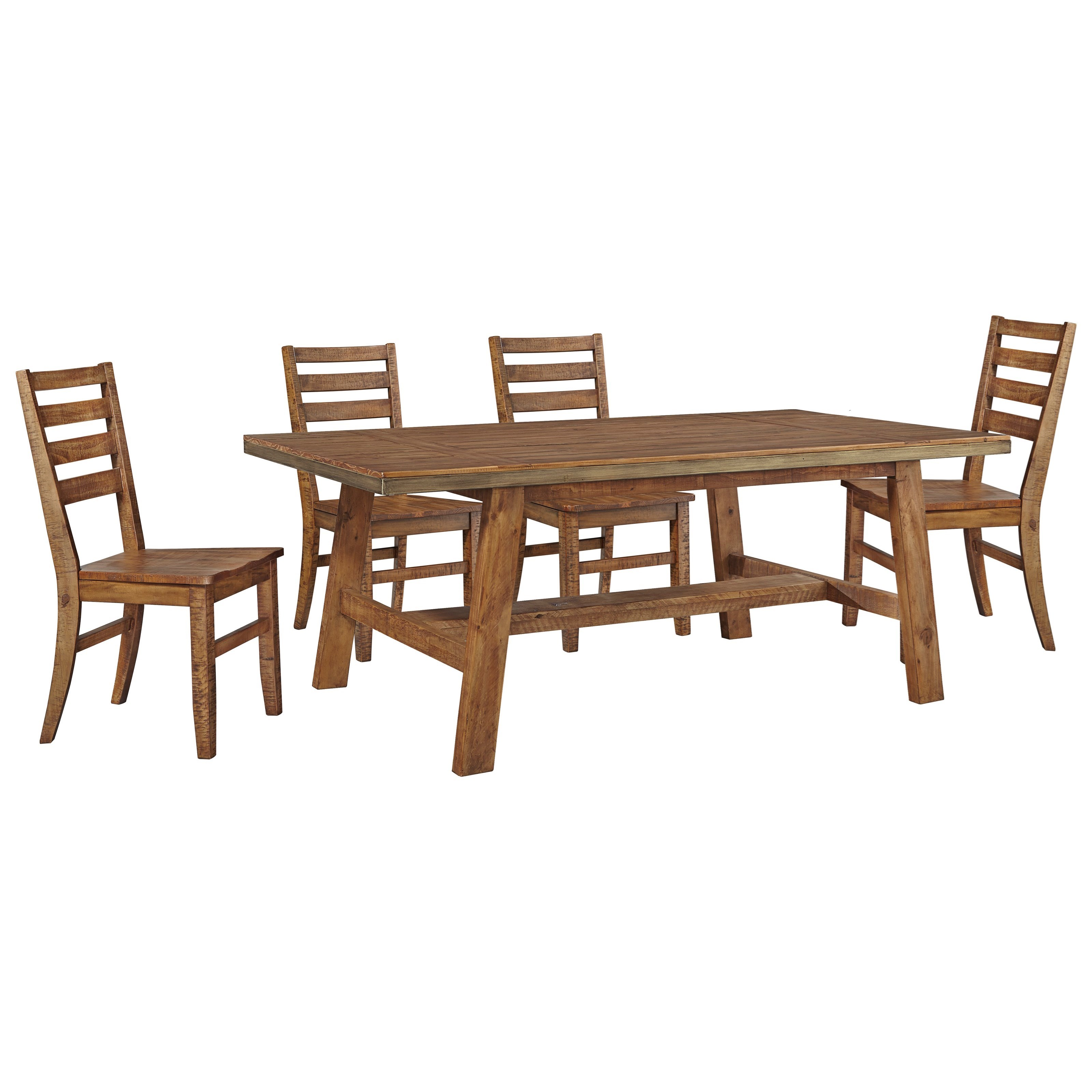 Signature Design by Ashley Dondie 5-Piece Solid Wood Dining Table Set - Item Number: D663-25+4x01