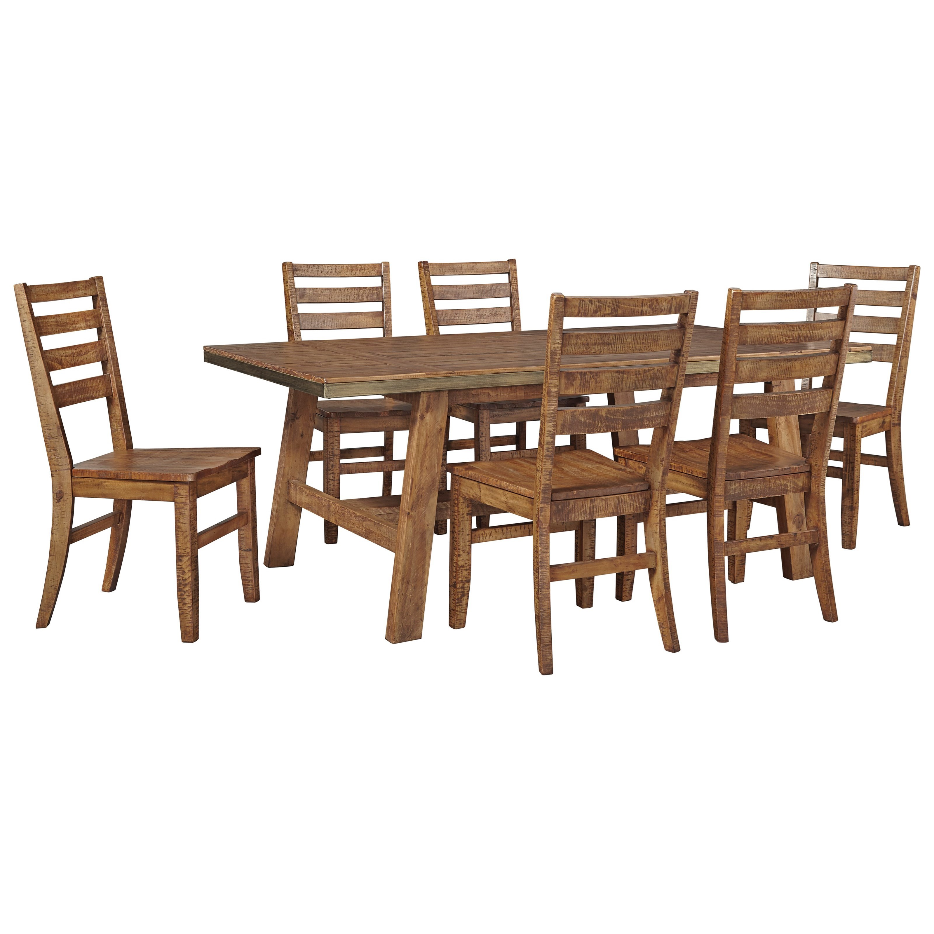 Signature Design by Ashley Dondie 7-Piece Solid Wood Dining Table Set - Item Number: D663-25+6x01