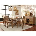 Signature Design by Ashley Dondie 7-Piece Solid Wood Rectangular Dining Table Set