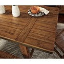 Signature Design by Ashley Dondie Solid Wood Rectangular Dining Room Table with Trestle Base, Plank Top, and Metal Banding