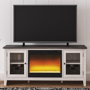 Large TV Stand w/ Fireplace Insert