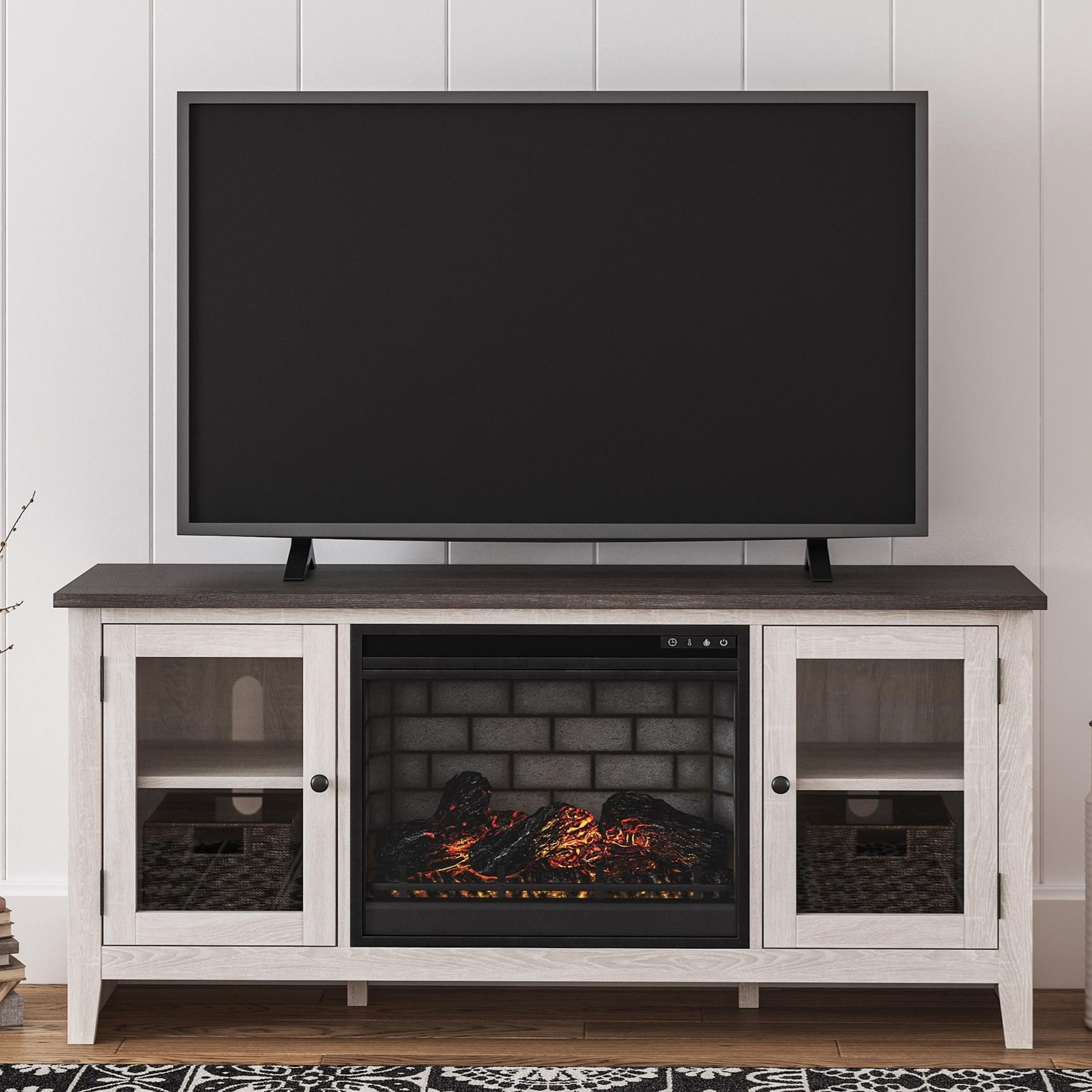 Dorrinson Large TV Stand w/ Fireplace Insert by Signature Design by Ashley at Northeast Factory Direct
