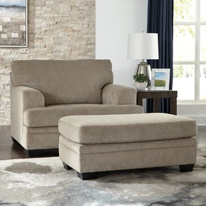 Signature Design by Ashley Dorsten Chair and a Half with Ottoman