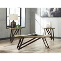 Signature Design by Ashley Dougetti Two-Tone Occasional Table Set with Metal Legs