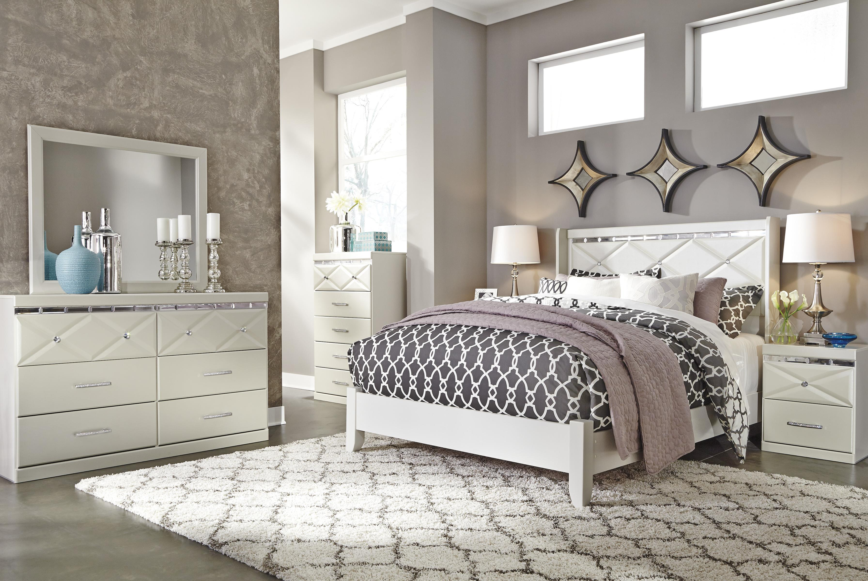 Ashley Signature Design Dreamur Queen Panel Bed With Faux Crystals Dunk Amp Bright Furniture