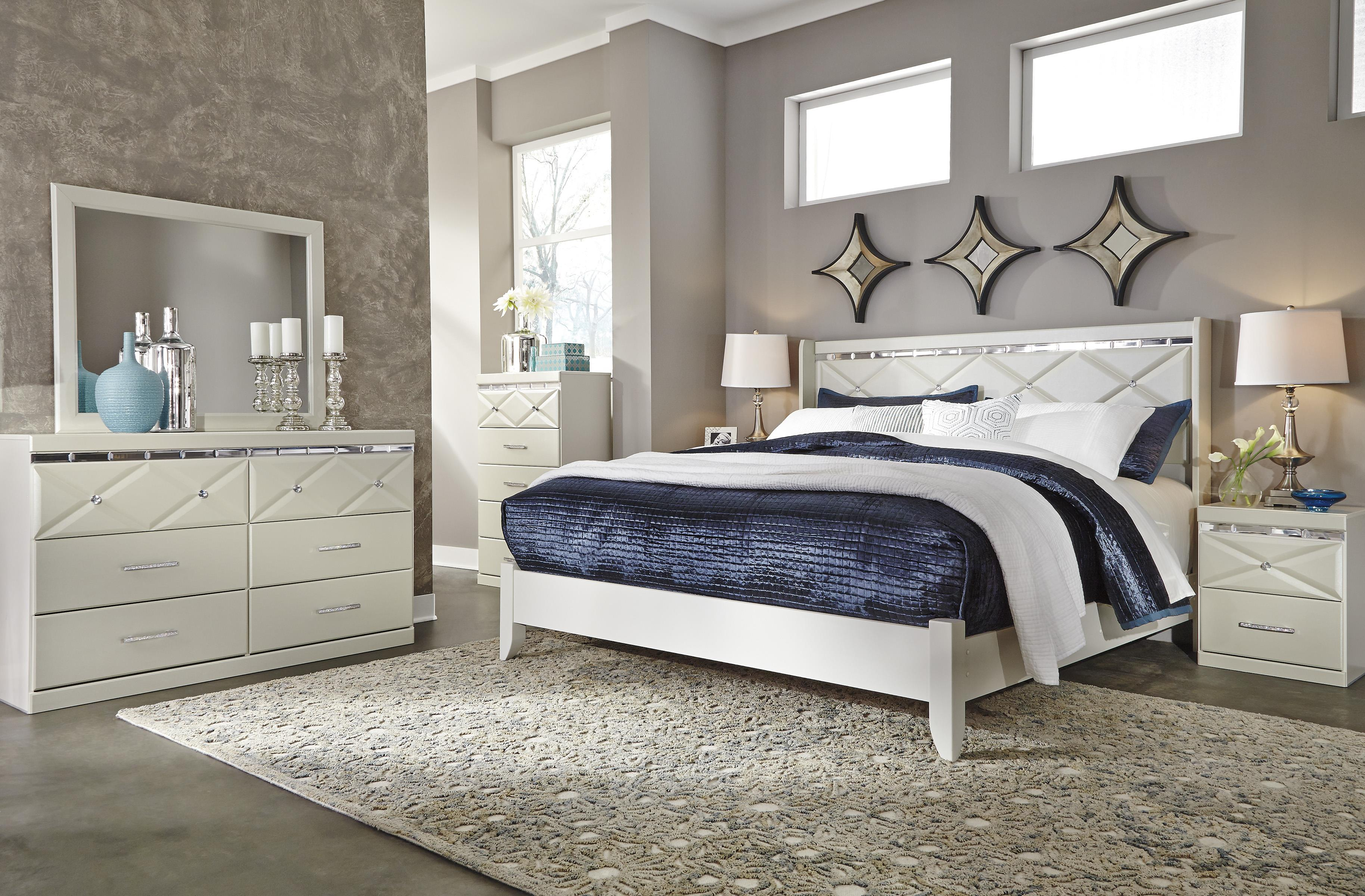 Ashley Signature Design Dreamur King Panel Bed With Faux Crystals Dunk Bright Furniture