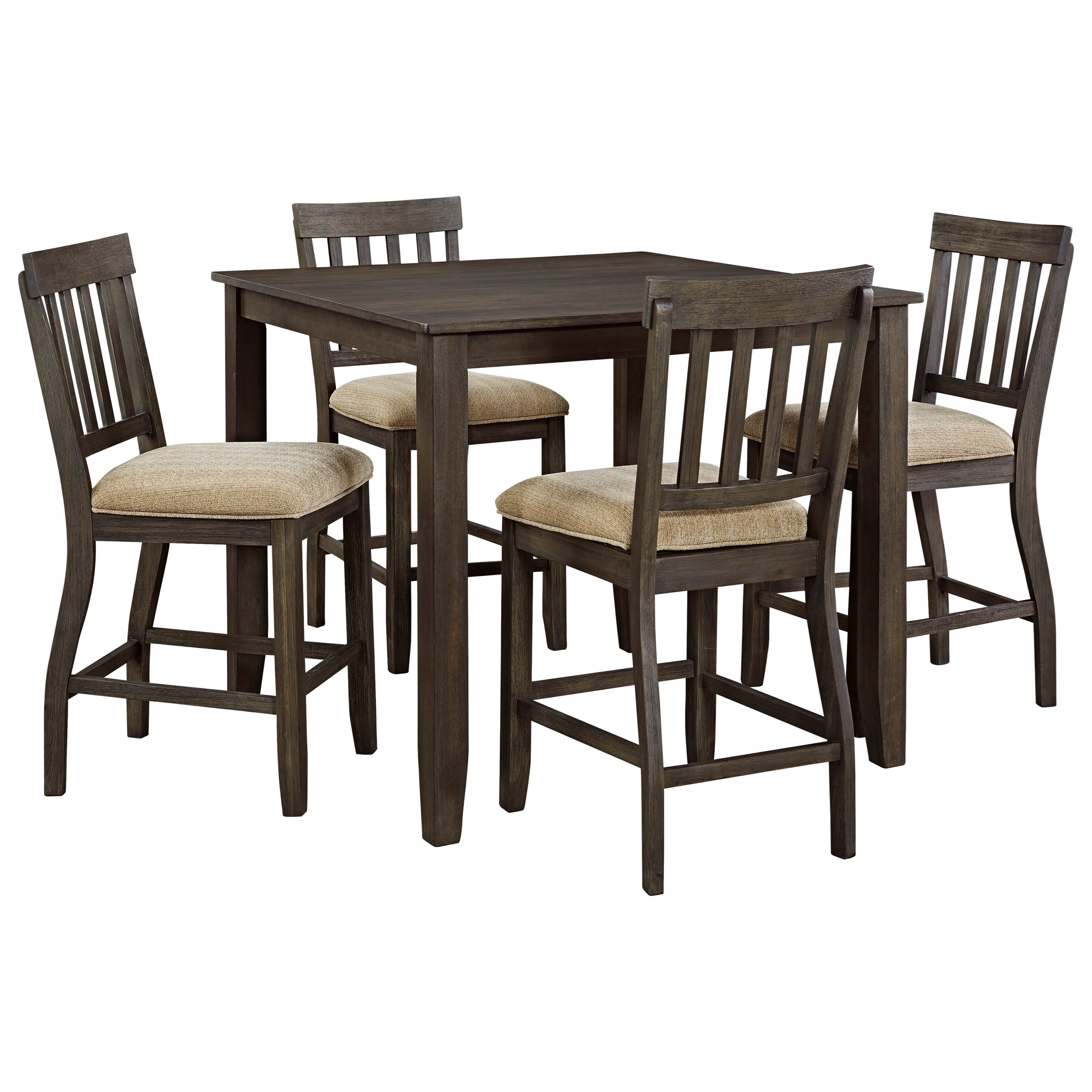 Signature Design by Ashley Dresbar 5-Piece Square Dining Room Counter Table Set - Item Number: D485-13+4x124