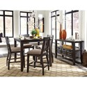 Signature Design by Ashley Dresbar Square Dining Room Counter Table with Wire Brushed Brown Gray Finish