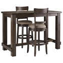 Signature Design by Ashley Drewing Three Piece Pub Table & Chair Set - Item Number: D538-12+2x130