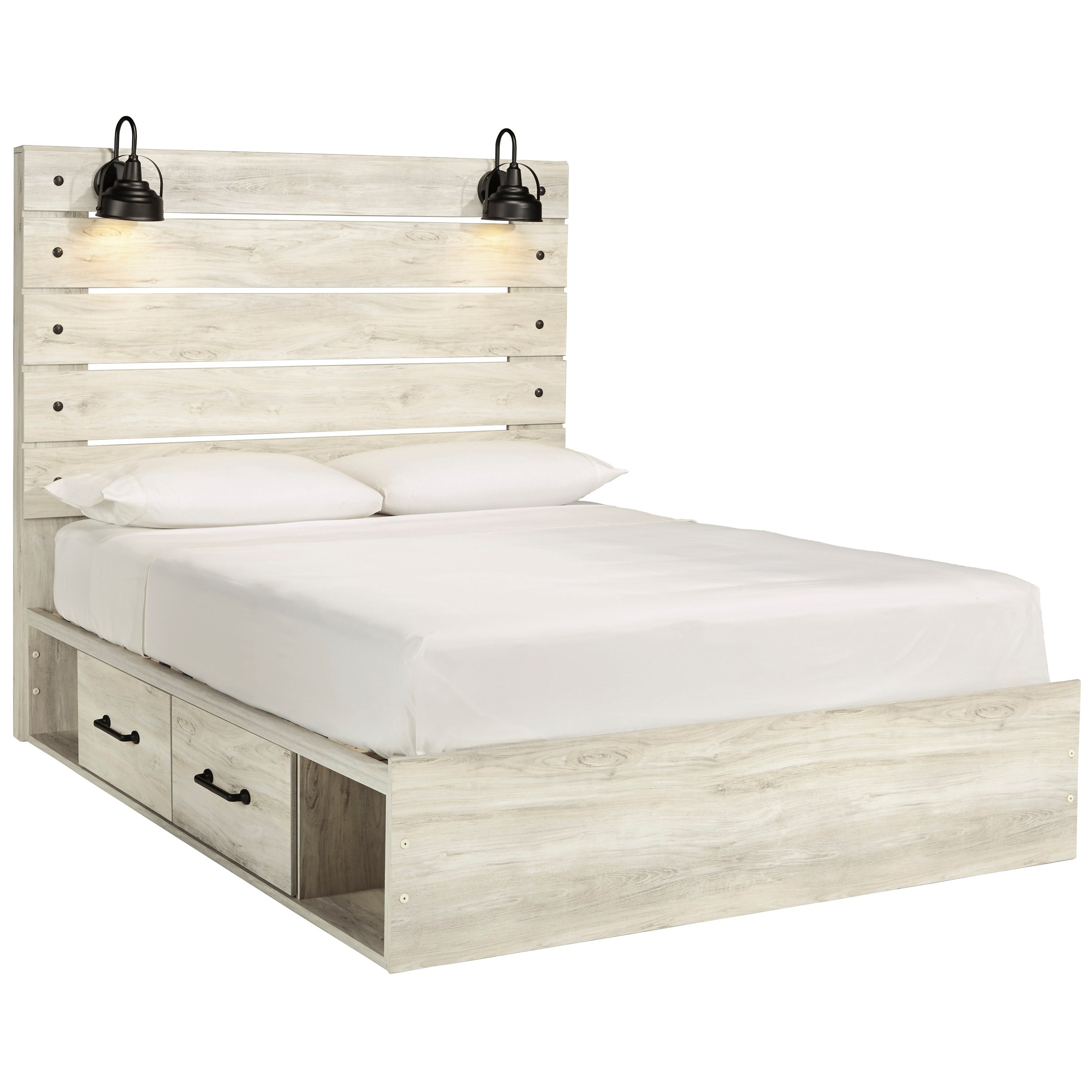 Picture of: Ashley Furniture Signature Design Cambeck Rustic Queen Storage Bed With 2 Drawers Industrial Lights Del Sol Furniture Platform Beds Low Profile Beds
