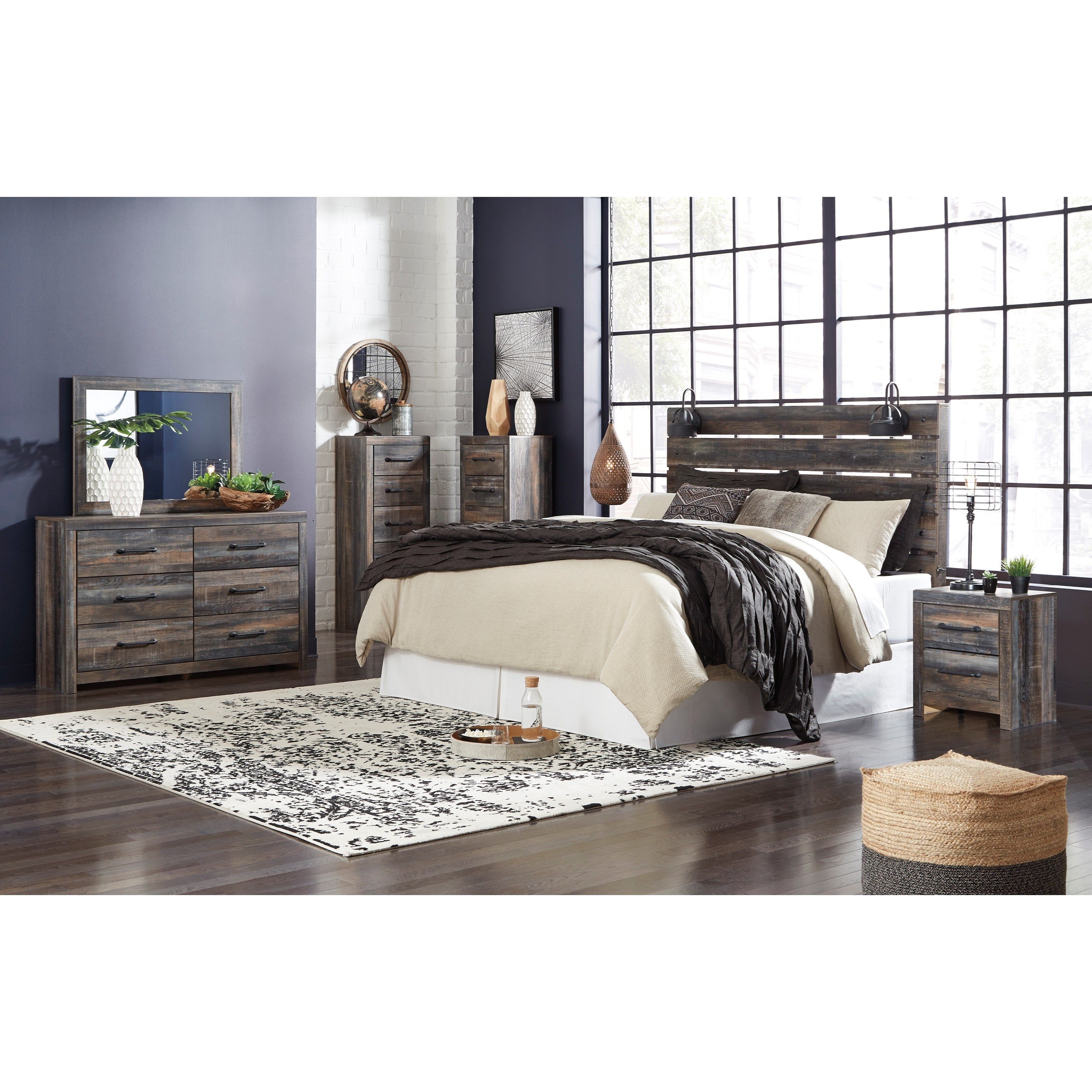 Houston Clearance Furniture: Signature Design By Ashley Drystan Rustic Narrow 5-Drawer