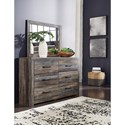 Signature Design by Ashley Drystan Rustic 6-Drawer Dresser with Metal Hardware