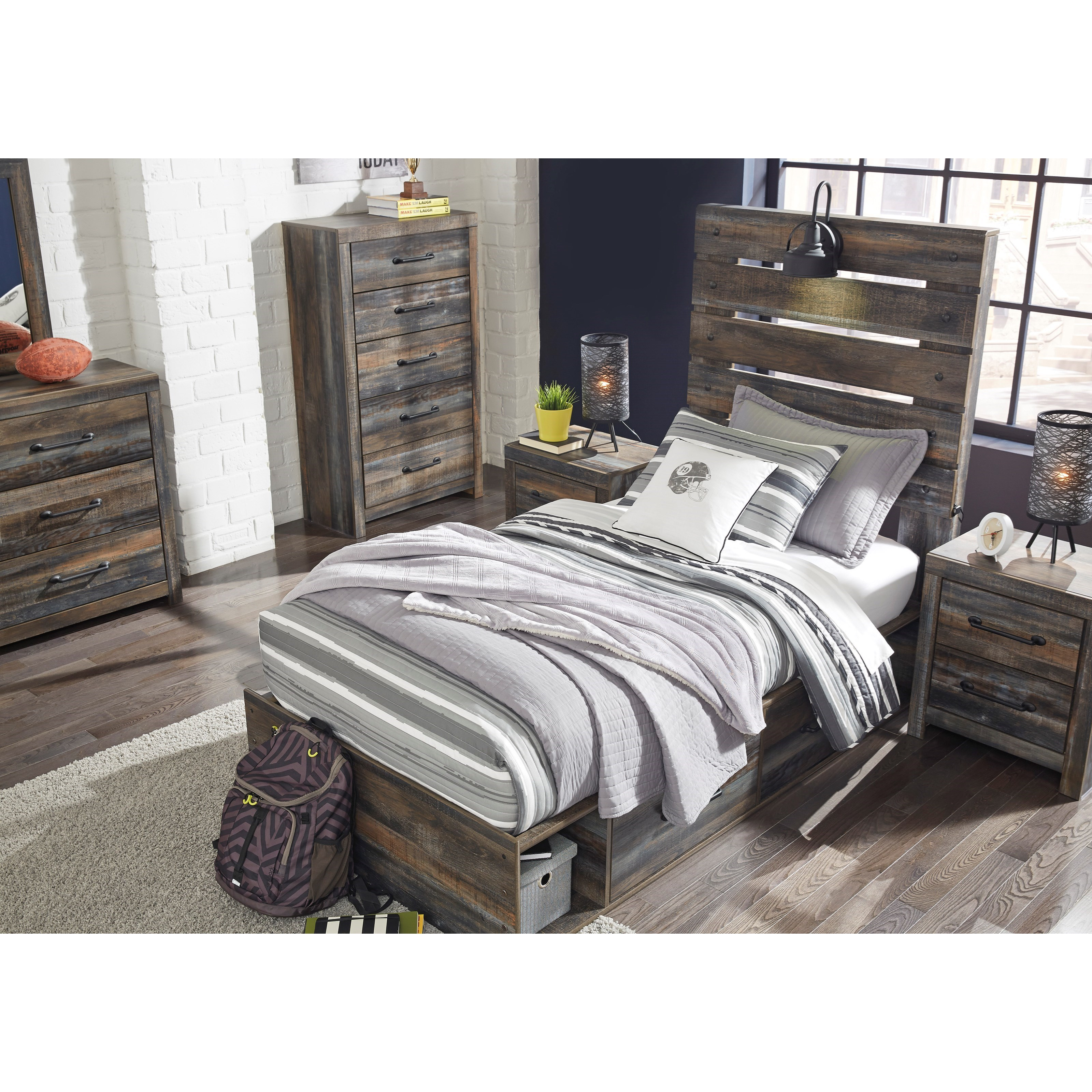 Signature Design By Ashley Drystan Rustic Twin Storage Bed