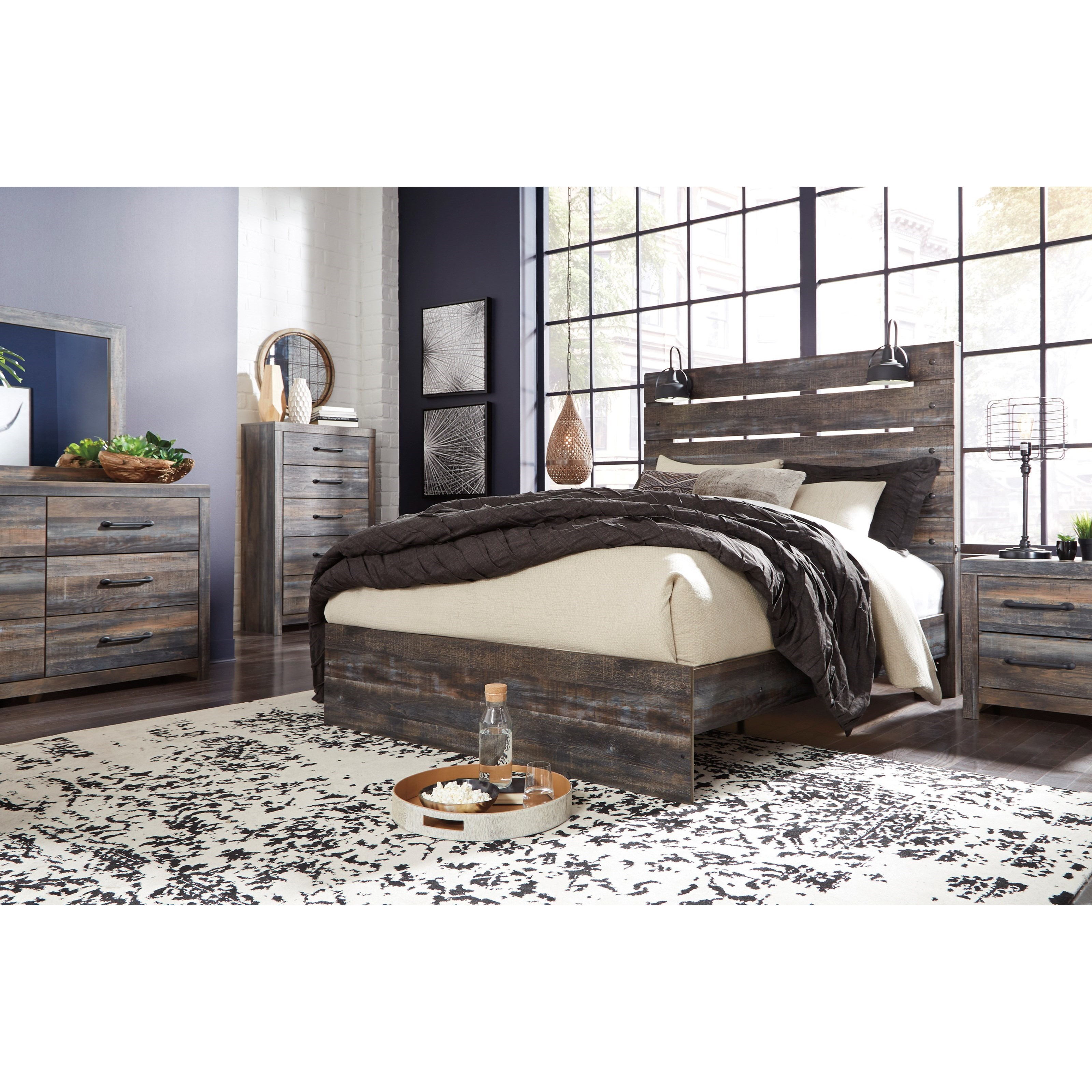 Signature Design By Ashley Drystan Rustic King Panel Bed