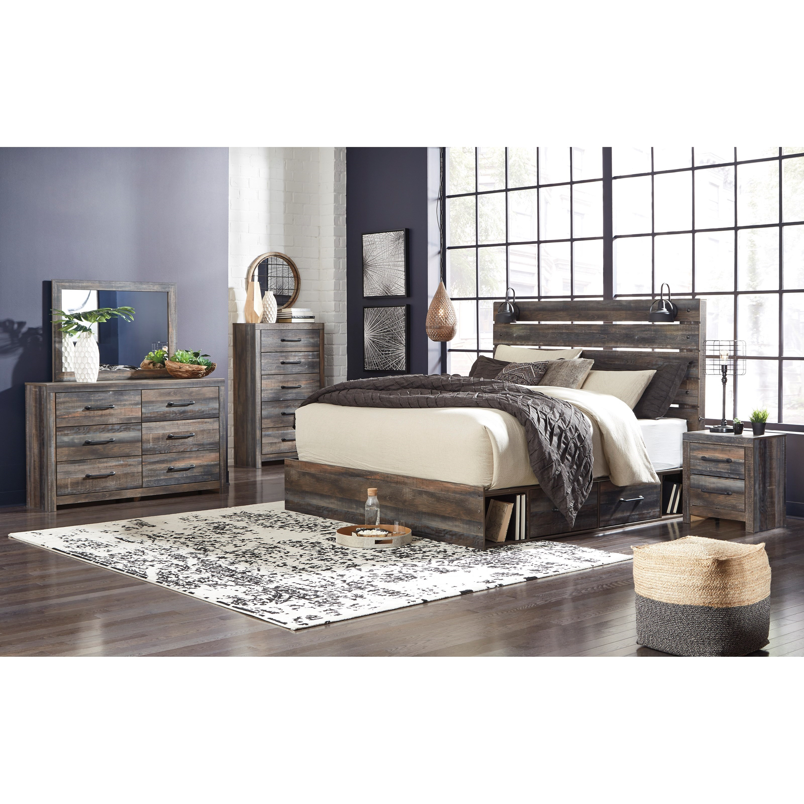 Signature Design by Ashley Drystan Rustic King Storage Bed ...