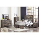 Signature Design by Ashley Drystan Rustic Full Storage Bed with 2 Drawers & Industrial Light