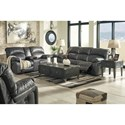 Signature Design by Ashley Dunwell Faux Leather Power Reclining Sofa w/ Adjustable Headrests
