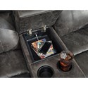 Signature Design by Ashley Dunwell Faux Leather Power Reclining Loveseat w/ Adj. Headrests & Console