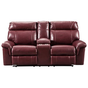 Signature Design by Ashley Duvic Power Reclining Loveseat w/ Adj. Headrests