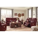 Signature Design by Ashley Duvic Leather Match Power Reclining Loveseat w/ Adjustable Headrests
