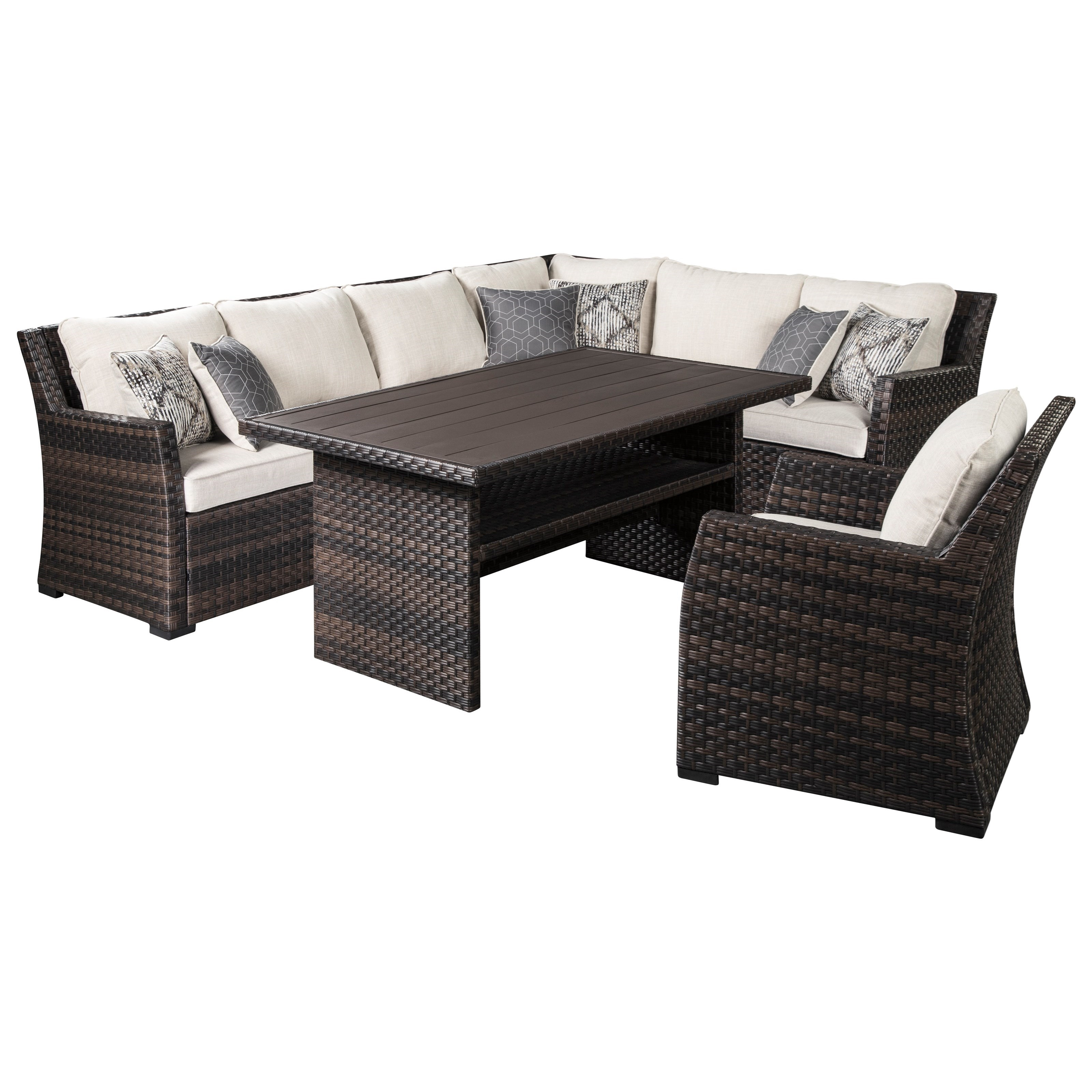 Easy Isle Outdoor Sectional with Table & Lounge Chair by Signature Design by Ashley at HomeWorld Furniture