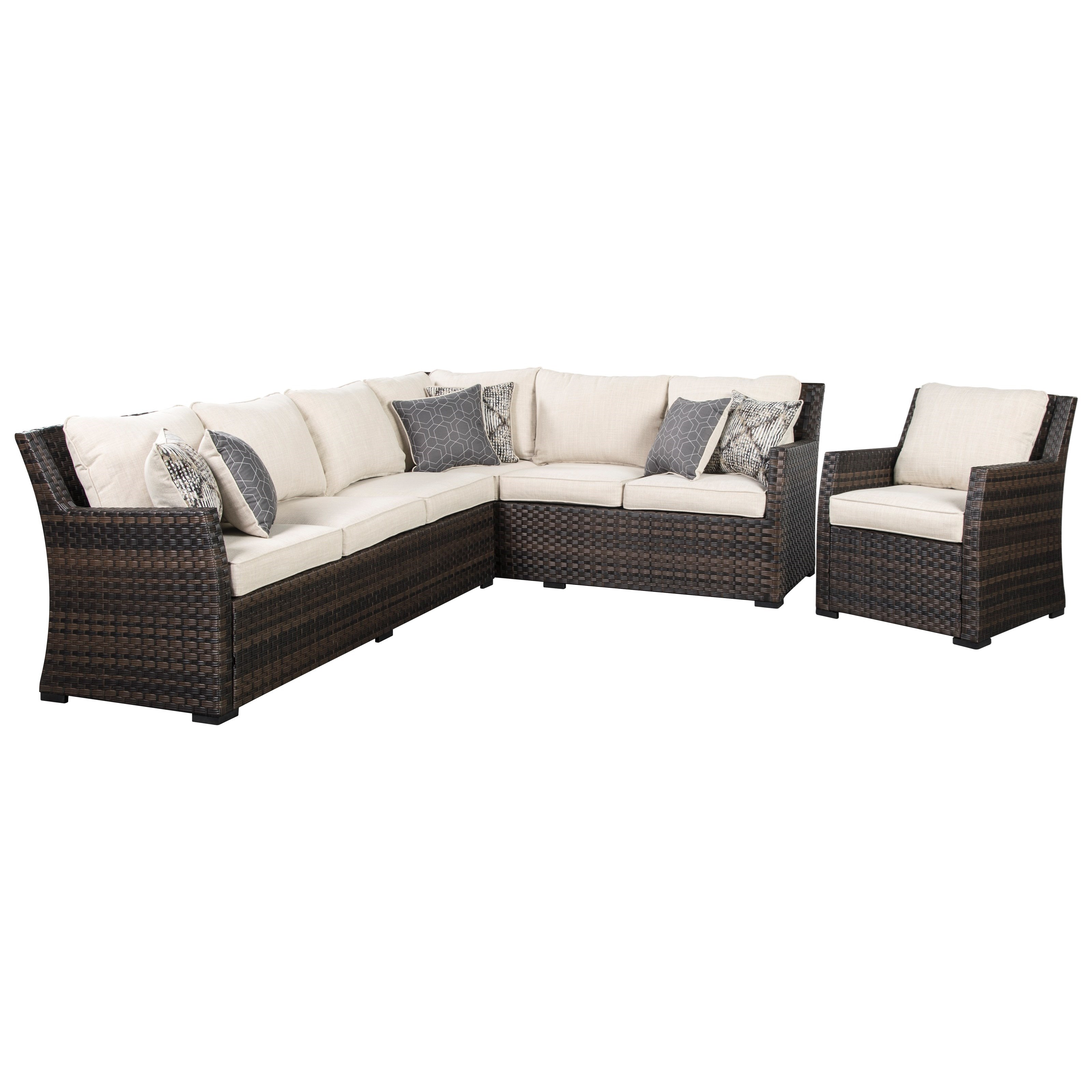 Outdoor 2-Piece Sectional & Lounge Chair Set