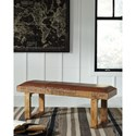 Signature Design by Ashley Eduardo Rustic Mango Accent Bench with Leather Seat
