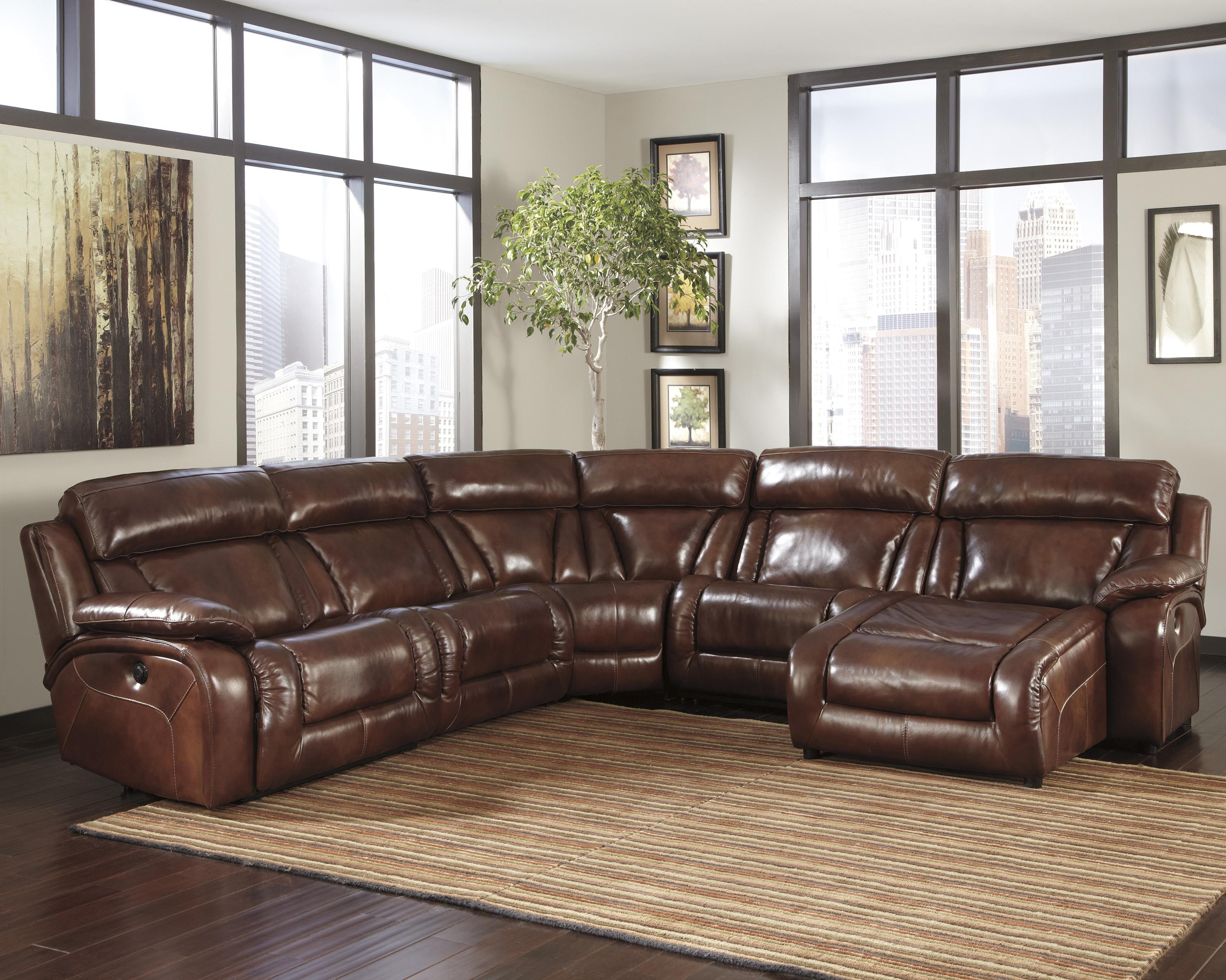Signature Design by Ashley Elemen Contemporary Reclining Sectional Sofa - Item Number: U9920158+57+2x46+77+97