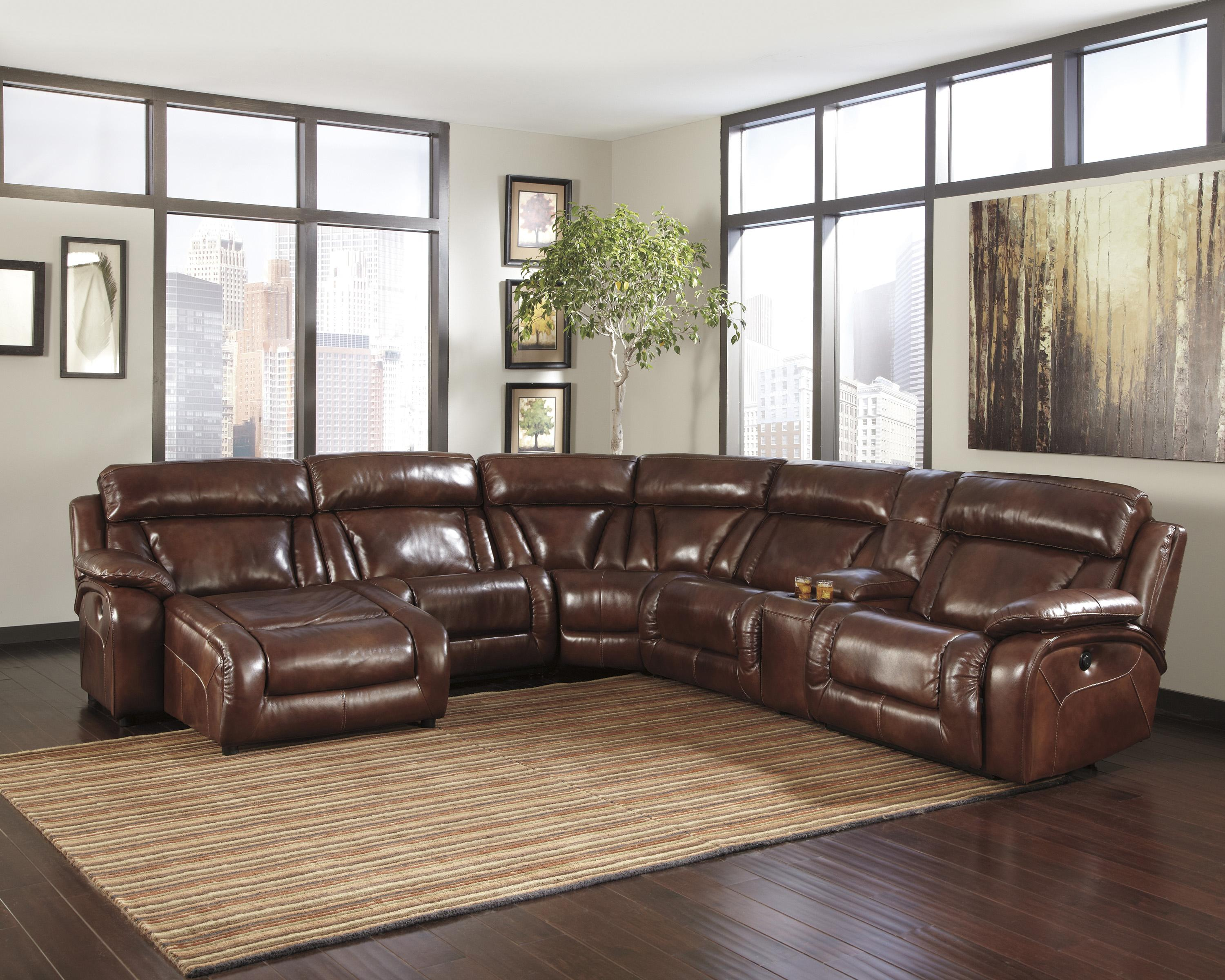 Signature Design by Ashley Elemen Contemporary Reclining Sectional Sofa - Item Number: U9920179+2x19+77+57+62