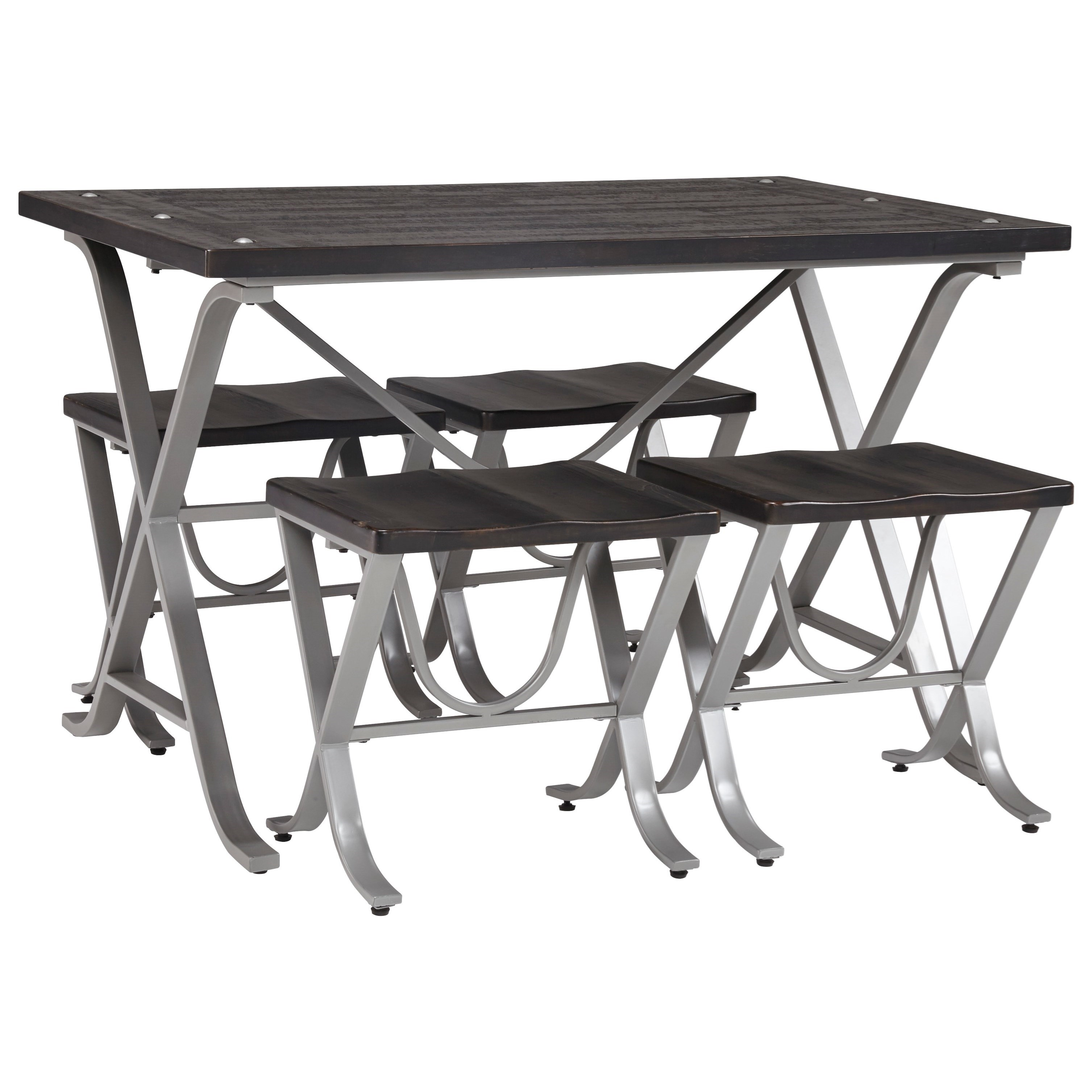 Signature Design by Ashley Elistree 5-Piece Rectangular Dining Room Table Set - Item Number: D321-225