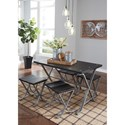 Signature Design by Ashley Elistree Wood and Metal 5-Piece Rectangular Dining Room Table Set with Stools