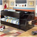 Signature Design by Ashley Embrace Twin Loft Bed with Caster Bed and Right Storage Steps