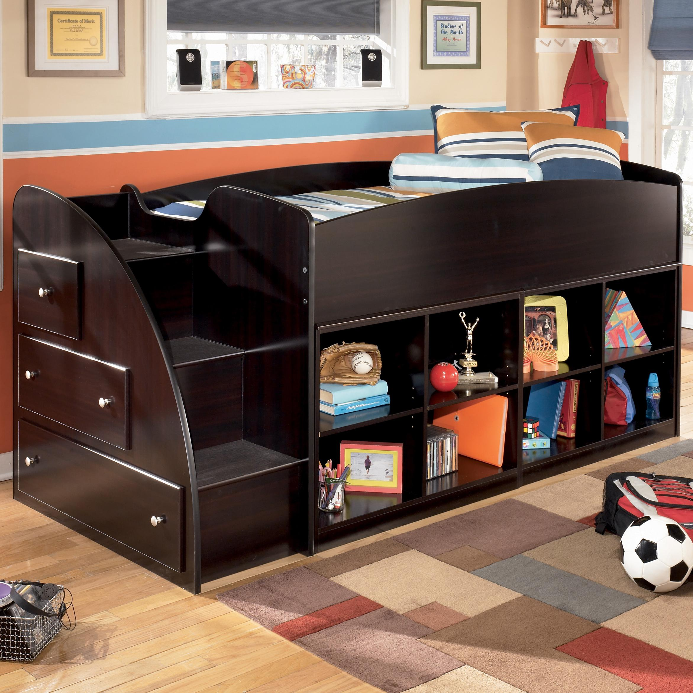 Twin beds for kids with storage - Signature Design By Ashley Embrace Twin Loft Bed With Bookcase Storage